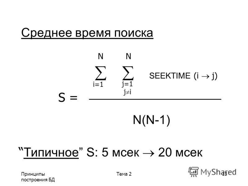 Принципы построения БД Тема 213 Среднее время поиска SEEKTIME (i j) S = N(N-1) N N i=1 j=1 j i Tипичное S: 5 мсек 20 мсек