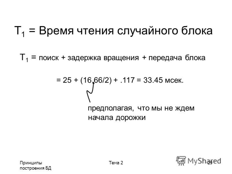 Принципы построения БД Тема 229 T 1 = Время чтения случайного блока T 1 = поиск + задержка вращения + передача блока = 25 + (16.66/2) +.117 = 33.45 мсек. предполагая, что мы не ждем начала дорожки