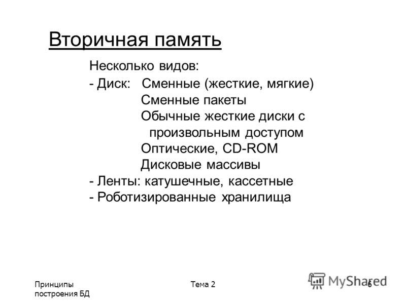Принципы построения БД Тема 26 Вторичная память Несколько видов: - Диск: Сменные (жесткие, мягкие) Сменные пакеты Обычные жесткие диски с произвольным доступом Оптические, CD-ROМ Дисковые массивы - Ленты: катушечные, кассетные - Роботизированные хран
