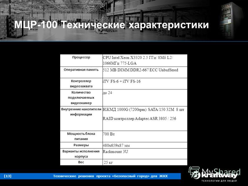 [13]Технические решения проекта «Безопасный город» для ЖКХ МЦР-100 Технические характеристики Процессор CPU Intel Xeon X3320 2.5 ГГц/ 8Мб L2/ 1066МГц 775-LGA Оперативная память 512 MB DIMM DDR2-667 ECC Unbuffered Контроллер видеозахвата iTV FS-6 + iT