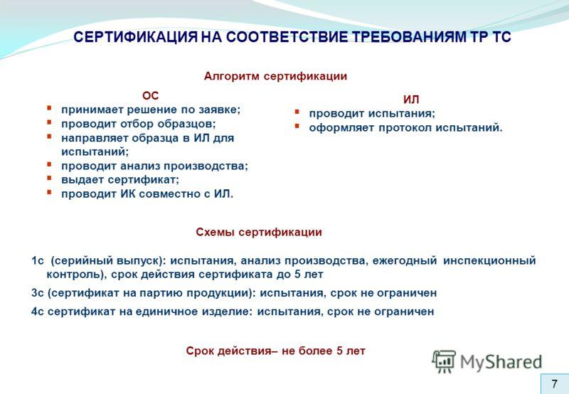 7 СЕРТИФИКАЦИЯ НА СООТВЕТСТВИЕ ТРЕБОВАНИЯМ ТР ТС 1с (серийный выпуск): испытания, анализ производства, ежегодный инспекционный контроль), срок действия сертификата до 5 лет 3с (сертификат на партию продукции): испытания, срок не ограничен 4с сертифик