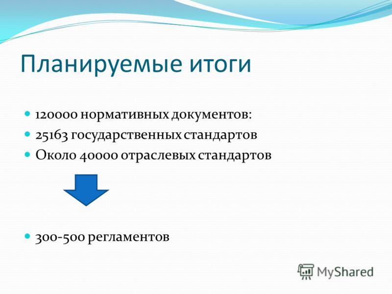 Планируемые итоги 120000 нормативных документов: 25163 государственных стандартов Около 40000 отраслевых стандартов 300-500 регламентов