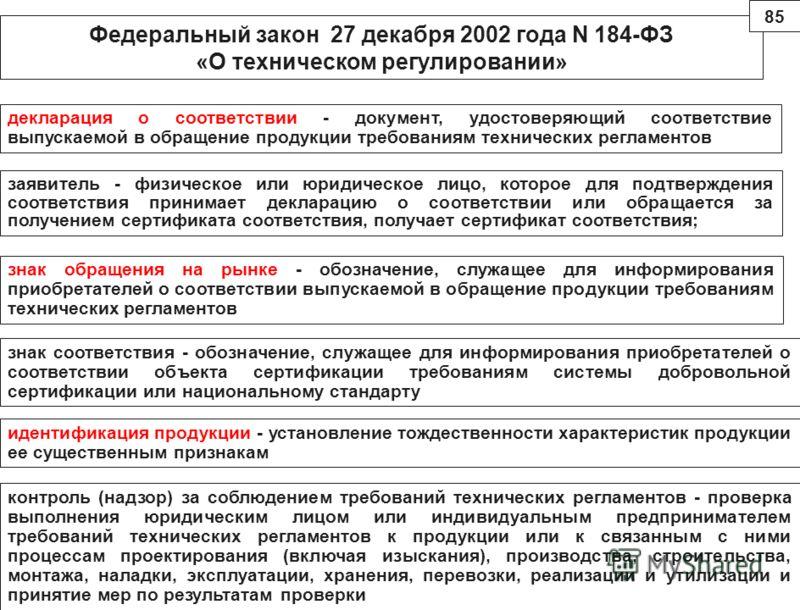 Федеральный закон 27 декабря 2002 года N 184-ФЗ «О техническом регулировании» декларация о соответствии - документ, удостоверяющий соответствие выпускаемой в обращение продукции требованиям технических регламентов заявитель - физическое или юридическ