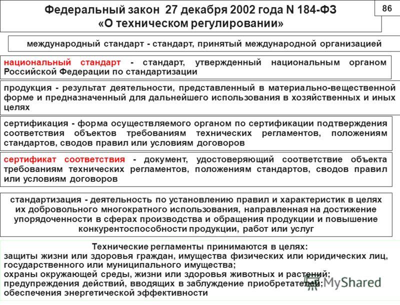 Федеральный закон 27 декабря 2002 года N 184-ФЗ «О техническом регулировании» международный стандарт - стандарт, принятый международной организацией национальный стандарт - стандарт, утвержденный национальным органом Российской Федерации по стандарти