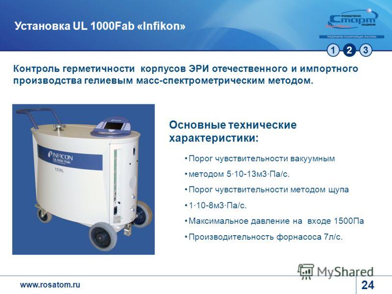 www.rosatom.ru 123 24 Установка UL 1000Fab «Infikon» Контроль герметичности корпусов ЭРИ отечественного и импортного производства гелиевым масс-спектрометрическим методом. Основные технические характеристики: Порог чувствительности вакуумным методом