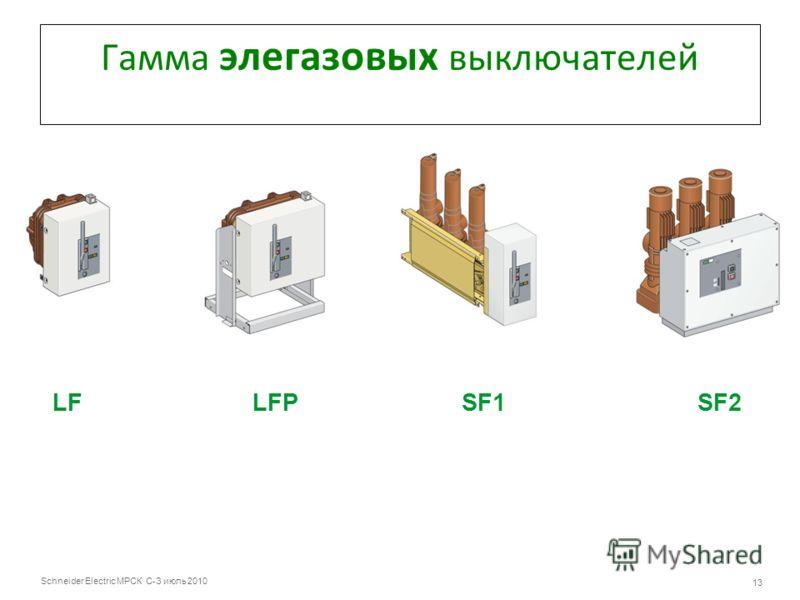 Schneider Electric МРСК С-З июль 2010 13 Гамма элегазовых выключателей LF LFP SF1 SF2