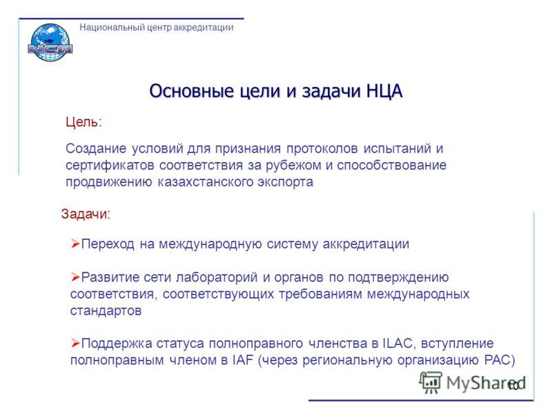 10 Переход на международную систему аккредитации Развитие сети лабораторий и органов по подтверждению соответствия, соответствующих требованиям международных стандартов Поддержка статуса полноправного членства в ILAC, вступление полноправным членом в