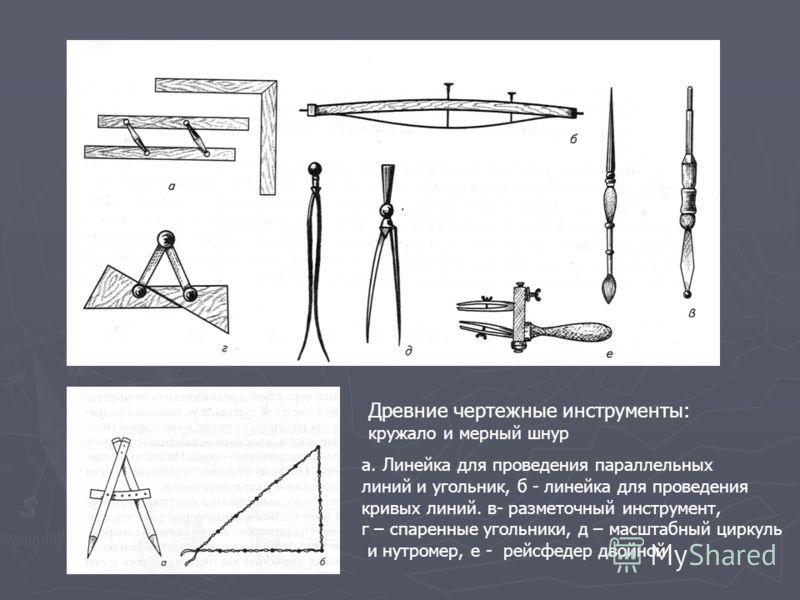 Древние чертежные инструменты: кружало и мерный шнур а. Линейка для проведения параллельных линий и угольник, б - линейка для проведения кривых линий. в- разметочный инструмент, г – спаренные угольники, д – масштабный циркуль и нутромер, е - рейсфеде