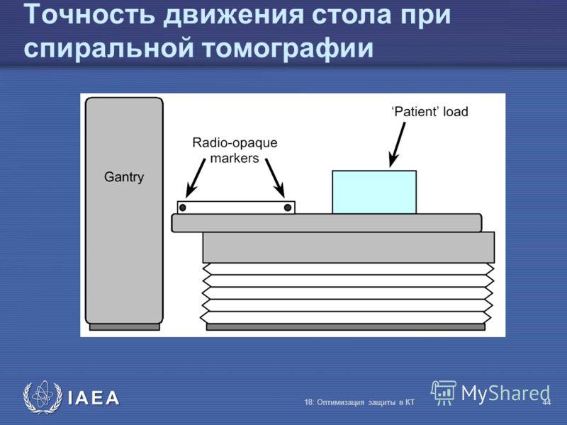 IAEA 18: Оптимизация защиты в КТ44 Точность движения стола при спиральной томографии