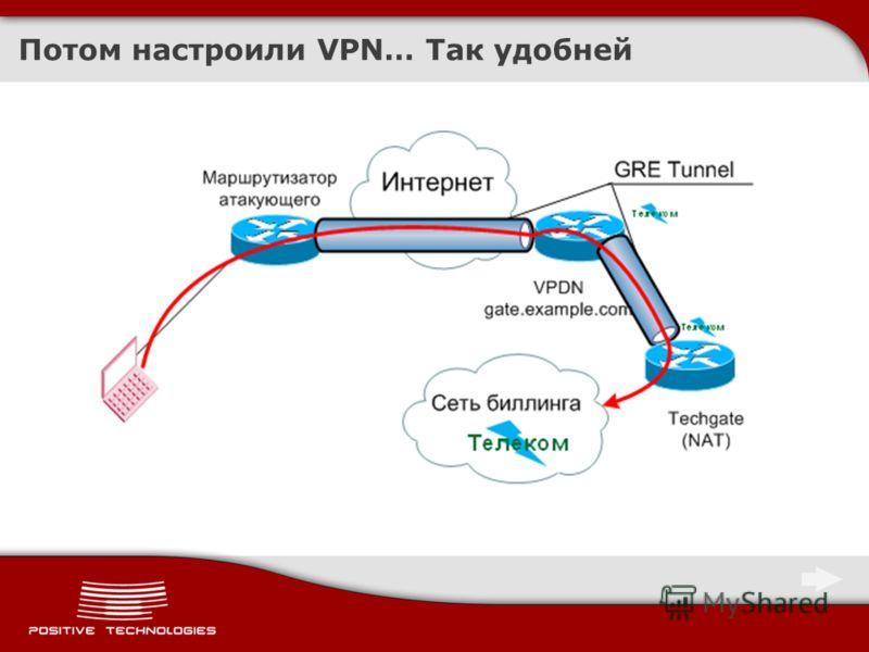 Потом настроили VPN… Так удобней