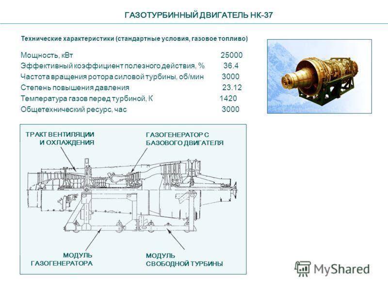 ГАЗОТУРБИННЫЙ ДВИГАТЕЛЬ НК-37 Технические характеристики (стандартные условия, газовое топливо) Мощность, кВт 25000 Эффективный коэффициент полезного действия, % 36.4 Частота вращения ротора силовой турбины, об/мин 3000 Степень повышения давления 23.
