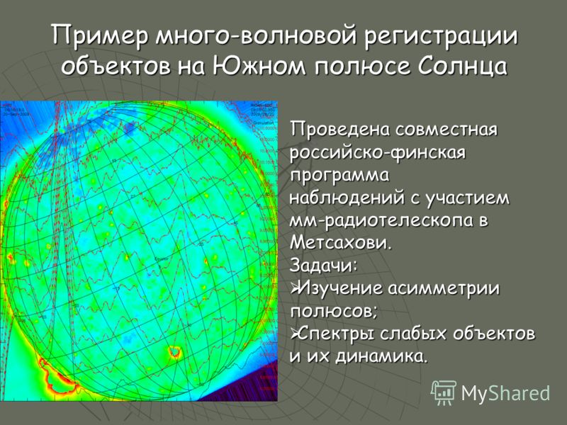 Пример много-волновой регистрации объектов на Южном полюсе Солнца Проведена совместная российско-финская программа наблюдений с участием мм-радиотелескопа в Метсахови. Задачи: Изучение асимметрии полюсов; Изучение асимметрии полюсов; Спектры слабых о