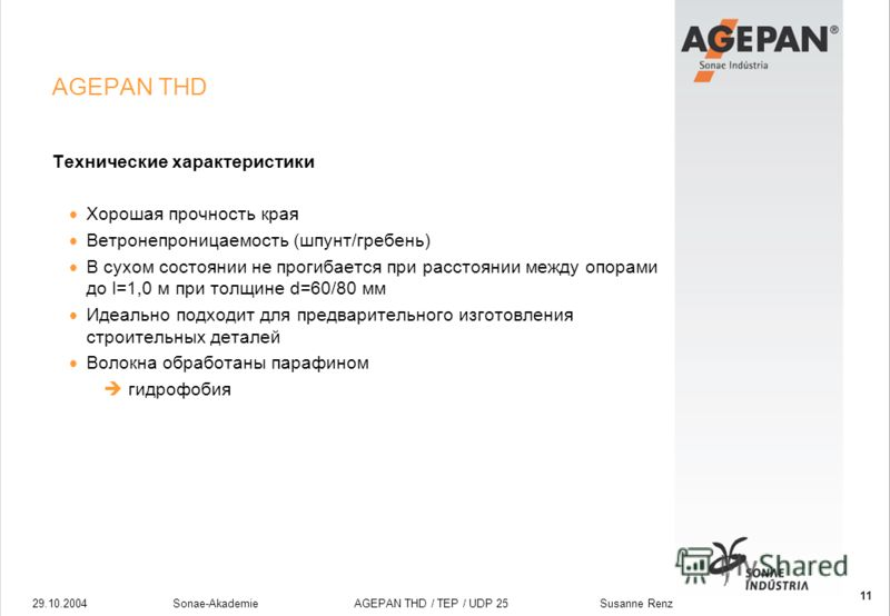 29.10.2004Sonae-Akademie AGEPAN THD / TEP / UDP 25 Susanne Renz 11 AGEPAN THD Технические характеристики Хорошая прочность края Ветронепроницаемость (шпунт/гребень) В сухом состоянии не прогибается при расстоянии между опорами до l=1,0 м при толщине