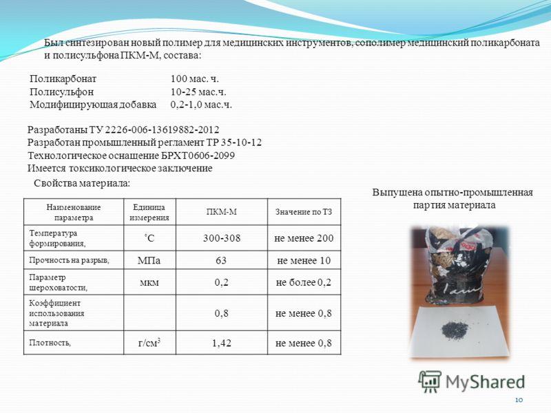 Был синтезирован новый полимер для медицинских инструментов, сополимер медицинский поликарбоната и полисульфона ПКМ-М, состава: Поликарбонат100 мас. ч. Полисульфон10-25 мас.ч. Модифицирующая добавка0,2-1,0 мас.ч. Разработаны ТУ 2226-006-13619882-2012