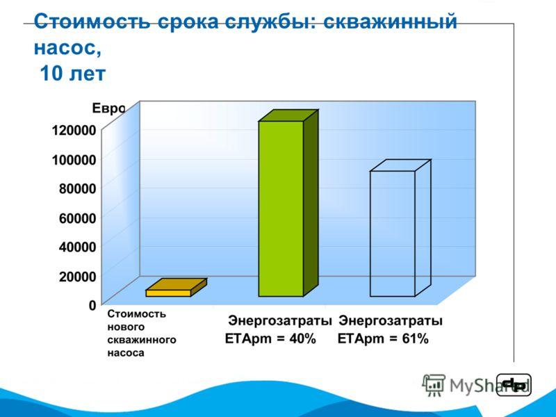 Стоимость срока службы: скважинный насос, 10 лет
