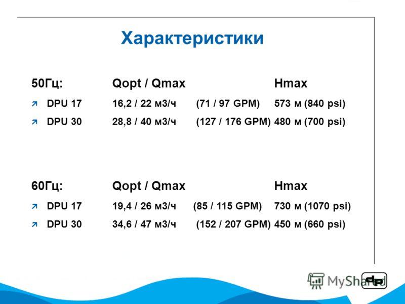 Характеристики 50Гц:Qopt / QmaxHmax DPU 17 16,2 / 22 м3/ч (71 / 97 GPM) 573 м (840 psi) DPU 30 28,8 / 40 м3/ч (127 / 176 GPM) 480 м (700 psi) 60Гц:Qopt / QmaxHmax DPU 17 19,4 / 26 м3/ч(85 / 115 GPM)730 м (1070 psi) DPU 30 34,6 / 47 м3/ч (152 / 207 GP