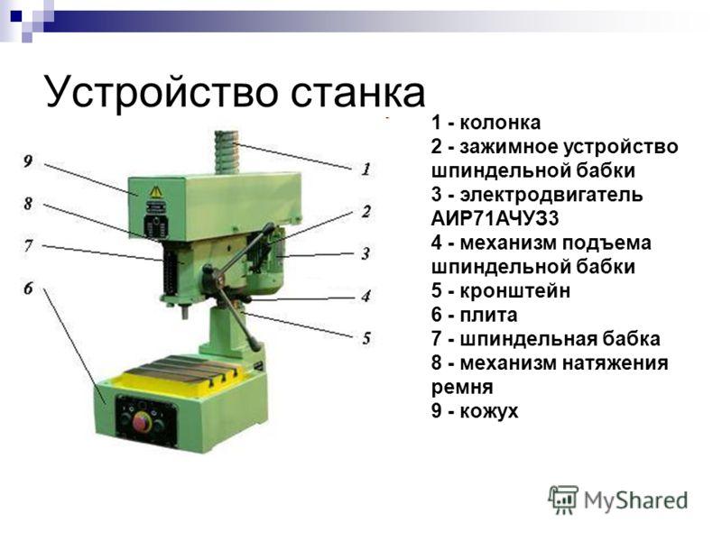 Устройство станка 1 - колонка 2 - зажимное устройство шпиндельной бабки 3 - электродвигатель АИР71АЧУЗ3 4 - механизм подъема шпиндельной бабки 5 - кронштейн 6 - плита 7 - шпиндельная бабка 8 - механизм натяжения ремня 9 - кожух