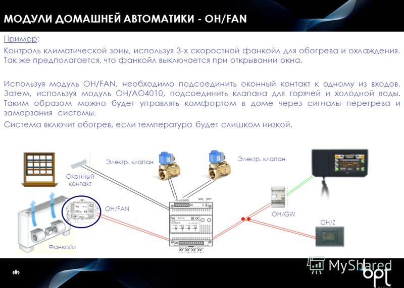 22 МОДУЛИ ДОМАШНЕЙ АВТОМАТИКИ - OH/FAN Пример: Контроль климатической зоны, используя 3-х скоростной фанкойл для обогрева и охлаждения. Так же предполагается, что фанкойл выключается при открывании окна. Используя модуль OH/FAN, необходимо подсоедини