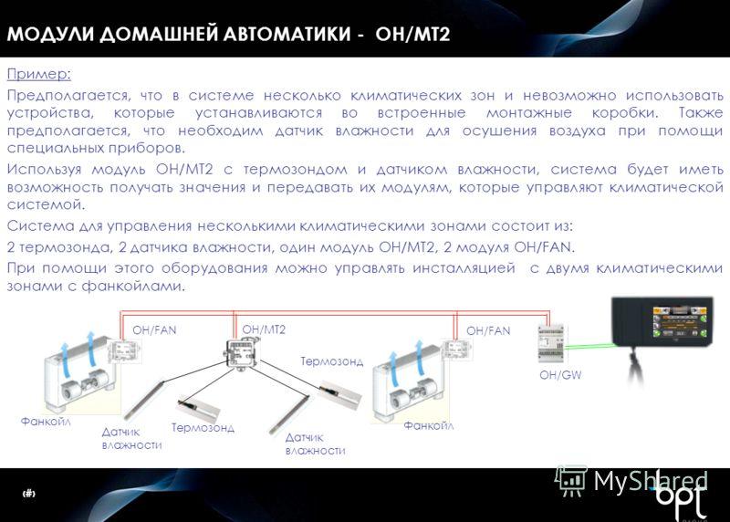 38 МОДУЛИ ДОМАШНЕЙ АВТОМАТИКИ - OH/MT2 Пример: Предполагается, что в системе несколько климатических зон и невозможно использовать устройства, которые устанавливаются во встроенные монтажные коробки. Также предполагается, что необходим датчик влажнос