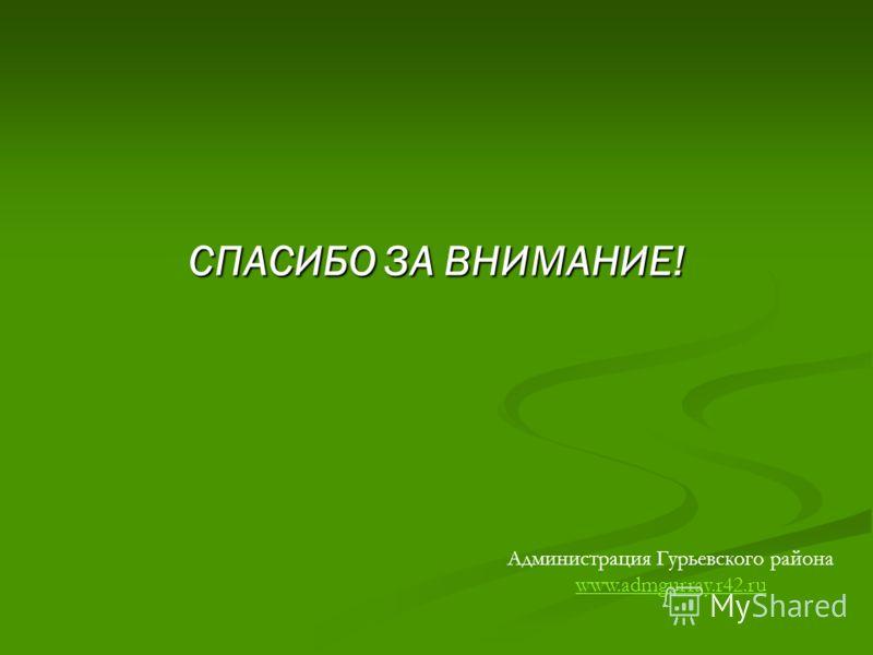 СПАСИБО ЗА ВНИМАНИЕ! Администрация Гурьевского района www.admgurray.r42.ru