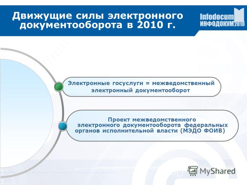 Движущие силы электронного документооборота в 2010 г. Электронные госуслуги = межведомственный электронный документооборот Проект межведомственного электронного документооборота федеральных органов исполнительной власти (МЭДО ФОИВ)
