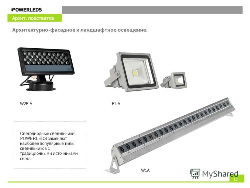 Светодиодные светильники POWERLEDS заменяют наиболее популярные типы светильников с традиционными источниками света. 12 Архит. подстветка Архитектурно-фасадное и ландшафтное освещение. W2E A W1A F1 A