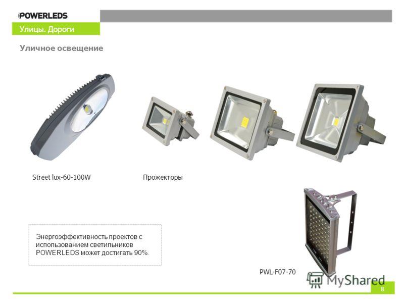 Улицы. Дороги Уличное освещение Энергоэффективность проектов с использованием светильников POWERLEDS может достигать 90%. 8 Street lux-60-100WПрожекторы PWL-F07-70
