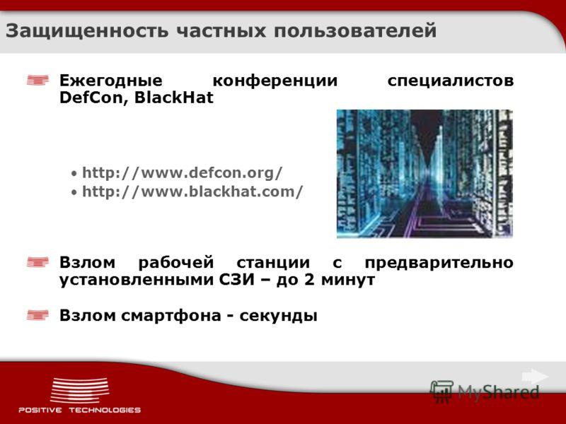 Защищенность частных пользователей Ежегодные конференции специалистов DefCon, BlackHat http://www.defcon.org/ http://www.blackhat.com/ Взлом рабочей станции с предварительно установленными СЗИ – до 2 минут Взлом смартфона - секунды