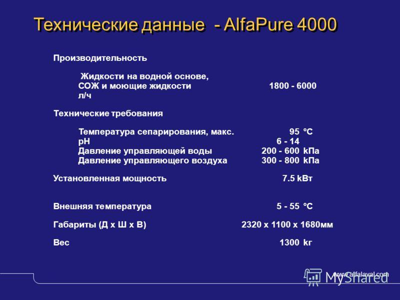 www.alfalaval.com © Alfa LavalSlide 12 Технические данные - AlfaPure 4000 Производительность Жидкости на водной основе, СОЖ и моющие жидкости 1800 - 6000 л/ч Технические требования Температура сепарирования, макс. 95°C pH 6 - 14 Давление управляющей