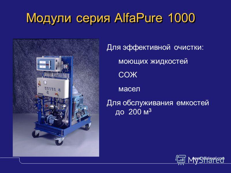 www.alfalaval.com © Alfa LavalSlide 3 Модули серия AlfaPure 1000 Для эффективной очистки: моющих жидкостей СОЖ масел Для обслуживания емкостей до 200 м 3