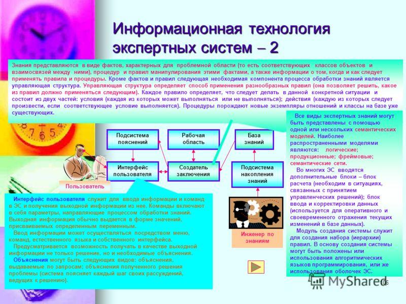 105 Информационная технология экспертных систем 1 Экспертные системы основываются на использовании искусственного интеллекта, под которым обычно понимают способности компьютерных систем к таким действиям, которые назывались бы интеллектуальными, если