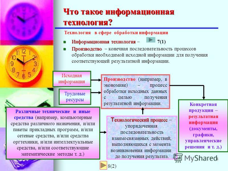 5 Технология в материальном производстве (например, в машиностроении)Технология в материальном производстве (например, в машиностроении) Технология термин произошел от двух греческих слов:техно мастерство и логос наука, то есть технология это наука о