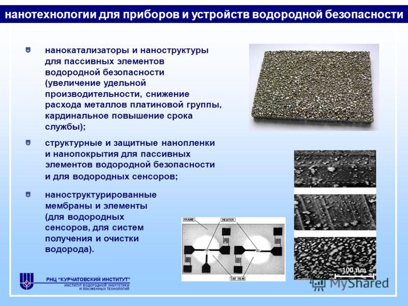 нанокатализаторы и наноструктуры для пассивных элементов водородной безопасности (увеличение удельной производительности, снижение расхода металлов платиновой группы, кардинальное повышение срока службы); структурные и защитные нанопленки и нанопокры