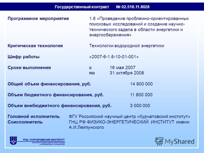 Программное мероприятие1.6 «Проведение проблемно-ориентированных поисковых исследований и создание научно- технического задела в области энергетики и энергосбережения» Критическая технологияТехнологии водородной энергетики Шифр работы«2007-6-1.6-10-0