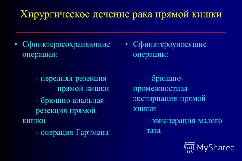 Хирургическое лечение рака прямой кишки _______________________________________ Сфинктеросохраняющие операции: - передняя резекция прямой кишки - брюшно-анальная резекция прямой кишки - операция Гартмана Сфинктероуносящие операции: - брюшно- промежно