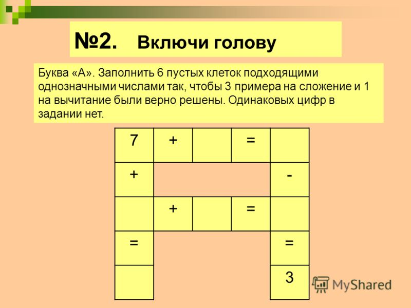 2. Включи голову Буква «А». Заполнить 6 пустых клеток подходящими однозначными числами так, чтобы 3 примера на сложение и 1 на вычитание были верно решены. Одинаковых цифр в задании нет. 7+= +- += == 3