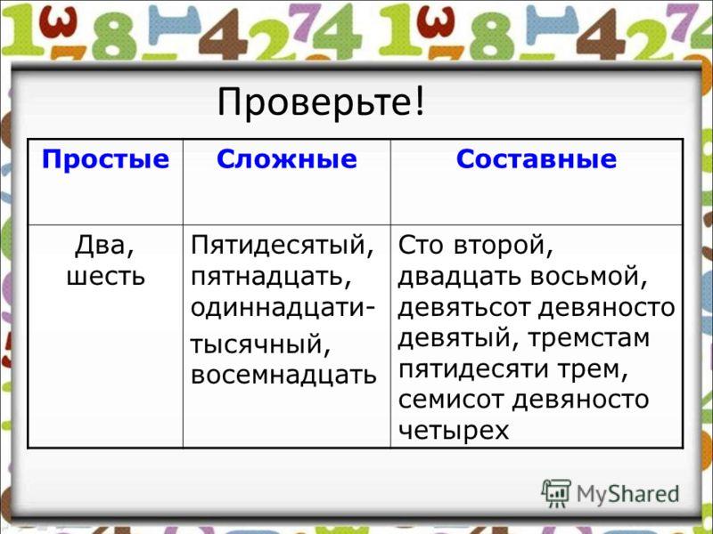Распределительный диктант -Распределите в три колонки числительные ПростыеСложныеСоставные Два, сто второй, пятидесятый, двадцать восьмой, пятнадцать, шесть, девятьсот девяносто девятый, одиннадцатитысячный, тремстам пятидесяти трем, восемнадцать, се