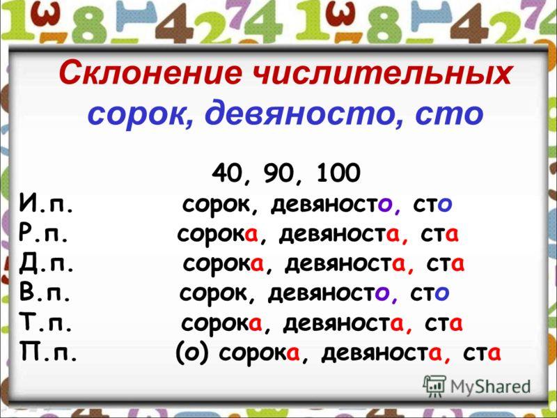 И. двести,триста, шестьсот Р. двухсот,трёхсот, шестисот Д. двумстам,трёмстам, шестистам В. двести,триста, шестьсот Т. двумястами, тремястами, шестьюстами П. (о)двухстах, трёхстах, шестистах Склонение числительных двести, триста, четыреста и на –сот (