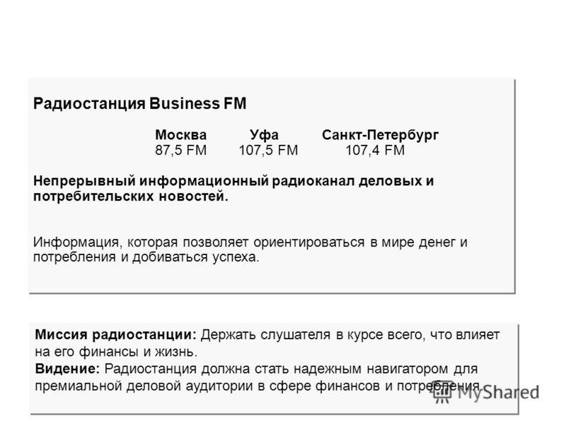 Радиостанция Business FM Москва Уфа Санкт-Петербург 87,5 FM 107,5 FM 107,4 FM Непрерывный информационный радиоканал деловых и потребительских новостей. Информация, которая позволяет ориентироваться в мире денег и потребления и добиваться успеха. Ради