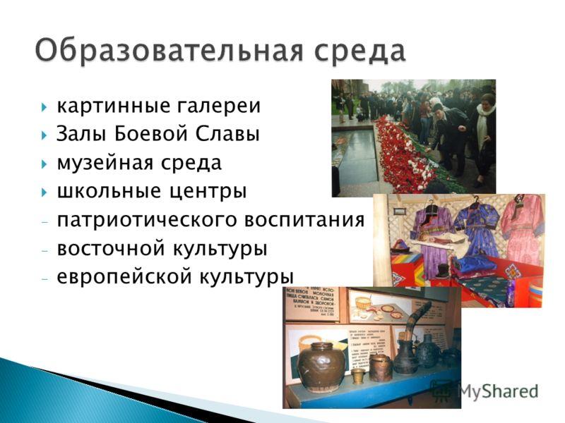 картинные галереи Залы Боевой Славы музейная среда школьные центры - патриотического воспитания - восточной культуры - европейской культуры