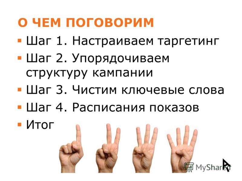 О ЧЕМ ПОГОВОРИМ Шаг 1. Настраиваем таргетинг Шаг 2. Упорядочиваем структуру кампании Шаг 3. Чистим ключевые слова Шаг 4. Расписания показов Итог