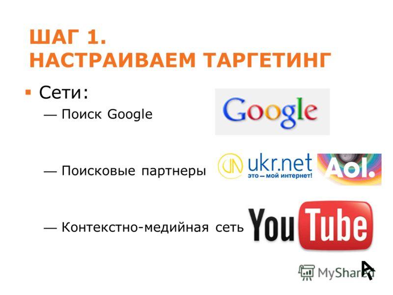 ШАГ 1. НАСТРАИВАЕМ ТАРГЕТИНГ Сети: Поиск Google Поисковые партнеры Контекстно-медийная сеть