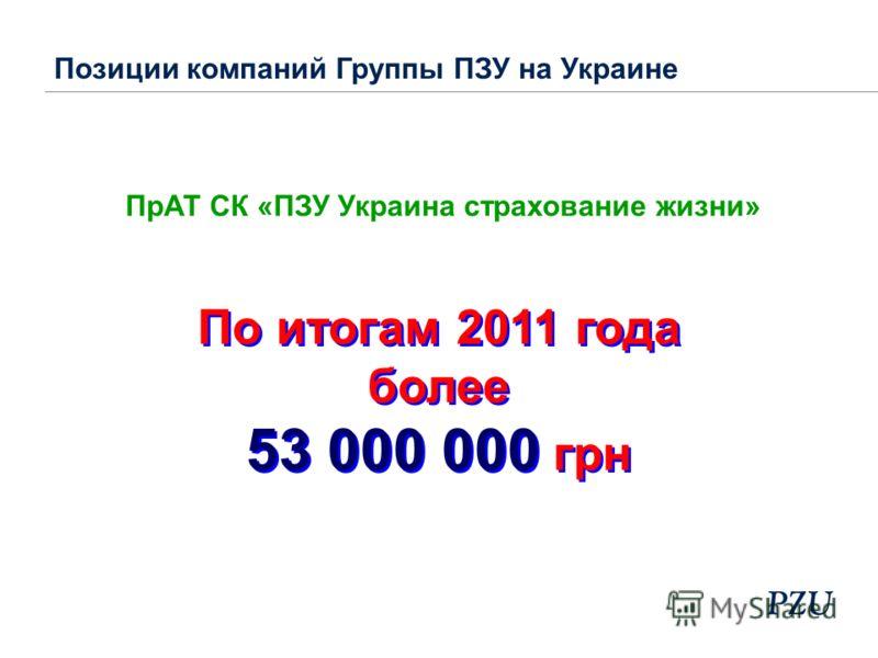 ПрАТ СК «ПЗУ Украина страхование жизни» Позиции компаний Группы ПЗУ на Украине По итогам 2011 года более 53 000 000 грн По итогам 2011 года более 53 000 000 грн