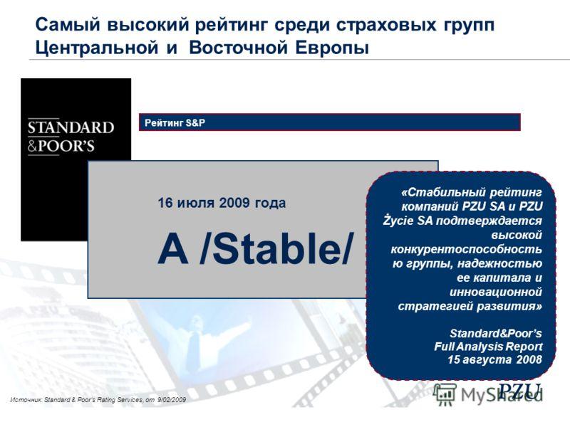 Рейтинг S&P «Стабильный рейтинг компаний PZU SA и PZU Życie SA подтверждается высокой конкурентоспособность ю группы, надежностью ее капитала и инновационной стратегией развития» Standard&Poors Full Analysis Report 15 августа 2008 16 июля 2009 года A