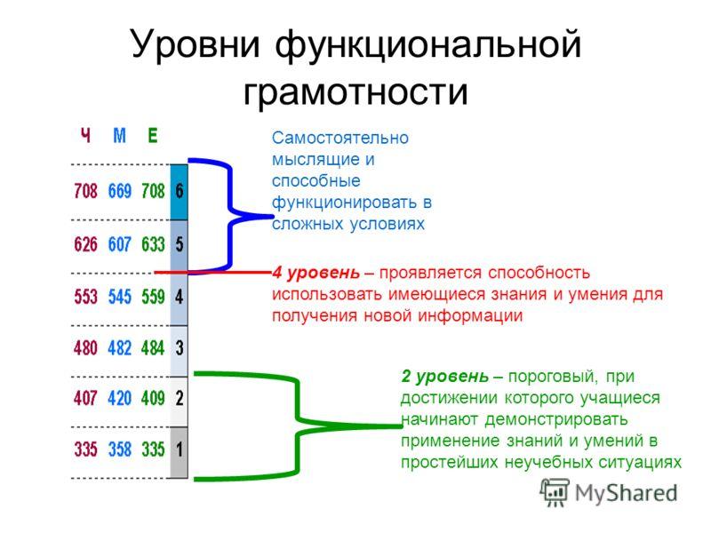 Уровни функциональной грамотности Самостоятельно мыслящие и способные функционировать в сложных условиях 4 уровень – проявляется способность использовать имеющиеся знания и умения для получения новой информации 2 уровень – пороговый, при достижении к