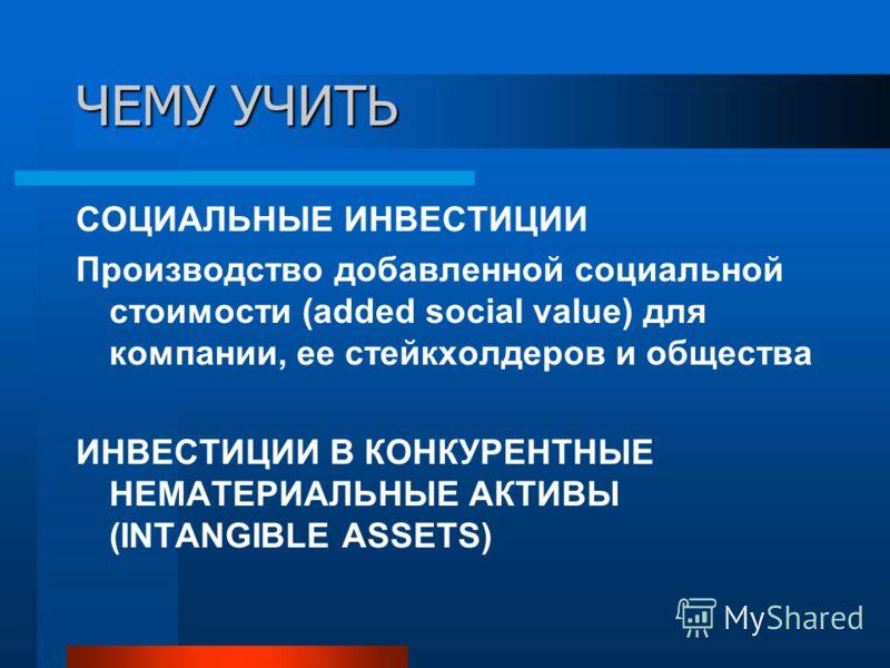 ЧЕМУ УЧИТЬ СОЦИАЛЬНЫЕ ИНВЕСТИЦИИ Производство добавленной социальной стоимости (added social value) для компании, ее стейкхолдеров и общества ИНВЕСТИЦИИ В КОНКУРЕНТНЫЕ НЕМАТЕРИАЛЬНЫЕ АКТИВЫ (INTANGIBLE ASSETS)