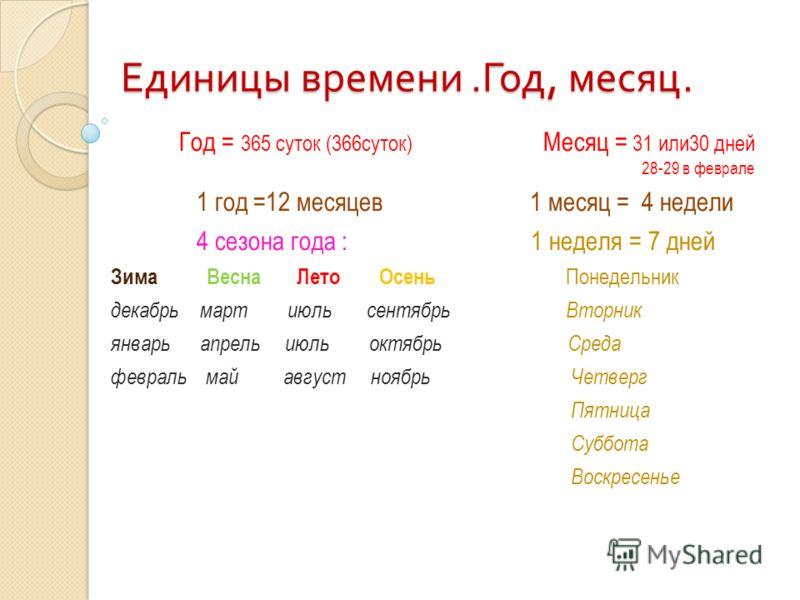 Единицы времени. Год, месяц. Год = 365 суток (366суток) Месяц = 31 или30 дней 28-29 в феврале 1 год =12 месяцев 1 месяц = 4 недели 4 сезона года : 1 неделя = 7 дней Зима Весна Лето Осень Понедельник декабрь март июль сентябрь Вторник январь апрель ию