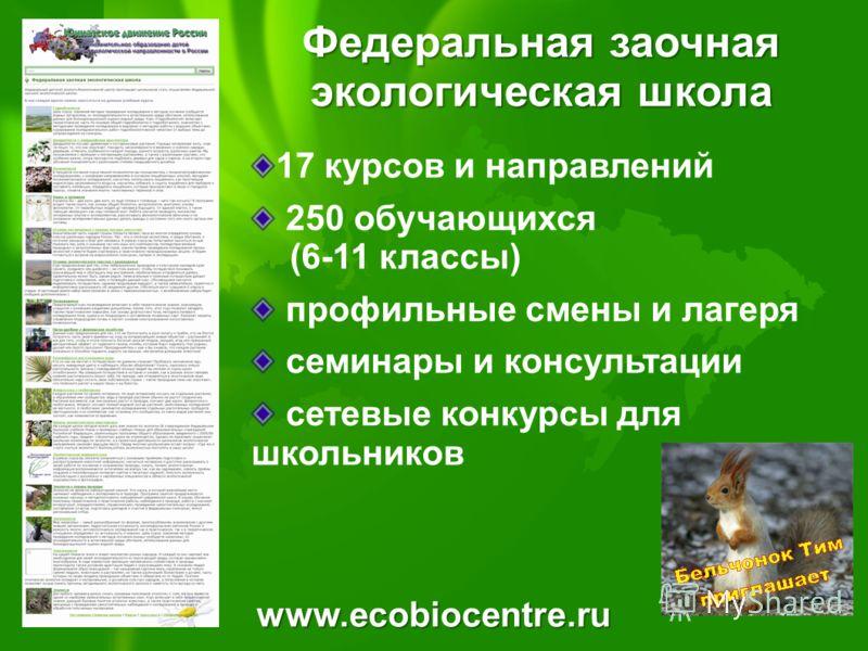 www.ecobiocentre.ru Федеральная заочная экологическая школа 17 курсов и направлений 250 обучающихся (6-11 классы) профильные смены и лагеря семинары и консультации сетевые конкурсы для школьников