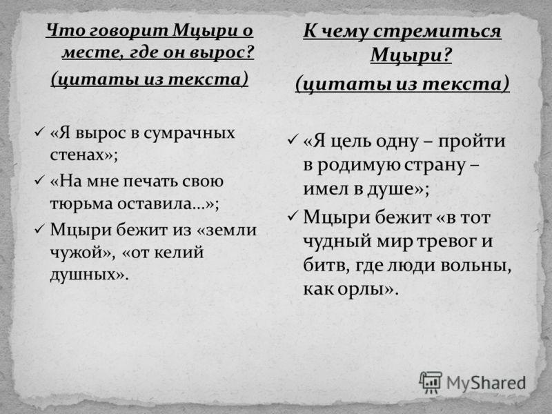 Что говорит Мцыри о месте, где он вырос? (цитаты из текста) «Я вырос в сумрачных стенах»; «На мне печать свою тюрьма оставила…»; Мцыри бежит из «земли чужой», «от келий душных». К чему стремиться Мцыри? (цитаты из текста) «Я цель одну – пройти в роди