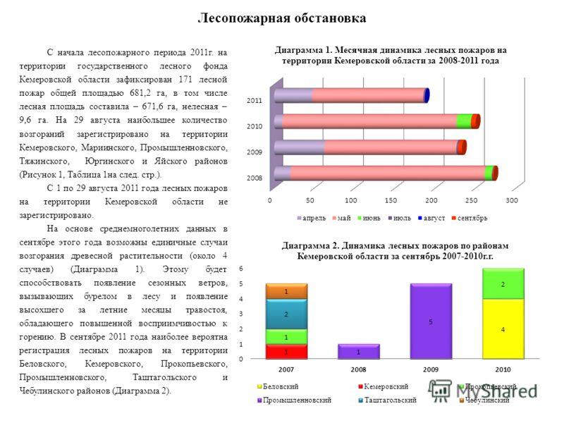 Лесопожарная обстановка С начала лесопожарного периода 2011г. на территории государственного лесного фонда Кемеровской области зафиксирован 171 лесной пожар общей площадью 681,2 га, в том числе лесная площадь составила – 671,6 га, нелесная – 9,6 га.